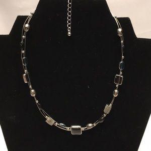 Short Lia Sophia necklace in black, blue, & silver